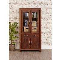 Mayan Walnut Large Glazed Bookcase Rustic