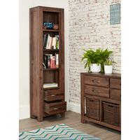 Mayan Walnut Narrow Bookcase Rustic Design