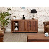 Mayan Walnut Large Low Four Door Sideboard Rustic