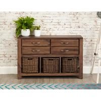 Mayan Walnut Four Drawer Console Table Rustic Style
