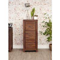 Mayan Walnut 3 Drawer Filing Cabinet Rustic Design