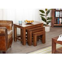 Mayan Walnut Nest of 3 Tables Rustic Design