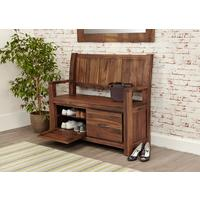 Mayan Walnut Monks Rustic Bench with Shoe Storage