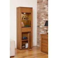 OLTEN Oiled Oak Modern Tall Display Cabinet Glazed with LED Lighting