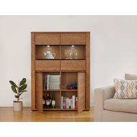 OLTEN Oiled Oak Modern Low Display Cabinet with LED Lighting
