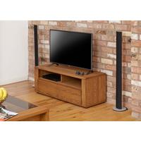 OLTEN Oiled Oak Small Modern TV Cabinet with 2 Drawers