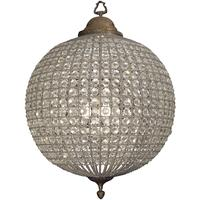 Round Crystal Effect Brass Chandelier Large Leaf Decoration Band by The Libra Company
