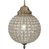 Round Crystal  Effect Brass Chandelier Small Leaf Decoration Band E14 40W 1 by The Libra Company