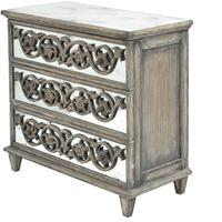 Roxborough Rustic Mindi Wooden Mirrored Chest 3 Drawers