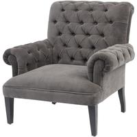 Vespa Grey Velvet Button Back Occasional Chair