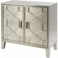 Astor Light Silver Metal Hand Embossed Cabinet 2 Doors