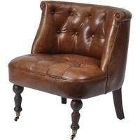 Belmont Vintage Light Brown Leather Buttoned Chair
