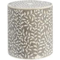 Petals Mid Grey Bone Inlaid Round Stool by The Libra Company