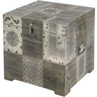 Monmartre Engraved Trunk Side Table with Embossed Metal Panels