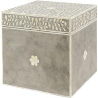 Petals Grey Bone Inlaid Square Storage Trunk by The Libra Company