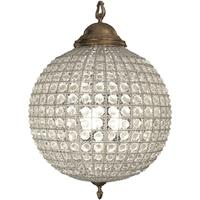 Round Antique Brass Chandelier Medium Leaf Decoration Band Crystal Effect
