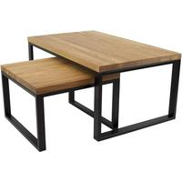 Duet Nest of Tables - Oak and Black Frame by Andrew Piggott Contemporary Furniture