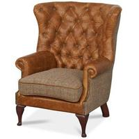 Wing Wrap Leather Armchair Buttoned