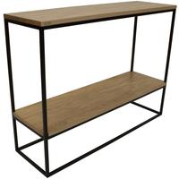 Skinny Console Table with Shelf - Black and Oak Finish by Andrew Piggott Contemporary Furniture