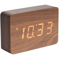 Karlsson Square LED Alarm Clock - Dark Wood by Red Candy