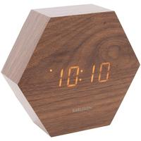 Karlsson Hexagon LED Alarm Clock - Dark Wood by Red Candy