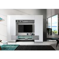 Sorriso Wall Unit with LED Spot Lights  - White Gloss with Grey/Black/Natural Lacquer by Andrew Piggott Contemporary Furniture