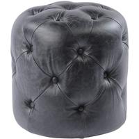 Homestead Antique Black Top Grain Leather Button Stool by The Libra Company