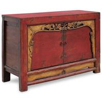 Red Lacquer Two Door Grain Cabinet by Shimu