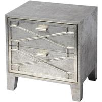 Astor Hand Embossed Metal Two Drawer Bedside Table by The Libra Company
