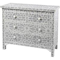Floreat Mottled Blue Grey Bone Inlaid 4 Drawer Chest by The Libra Company
