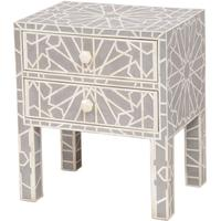 Floreat Mottled Blue Grey Bone Inlaid Two Drawer Bedside Table by The Libra Company