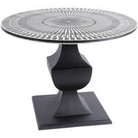 Humbug Bone Inlay Black And White Round Dining Table by The Libra Company