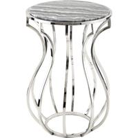 Wallasey Stainless Steel Bulb Lamp Table Grey Marble Top