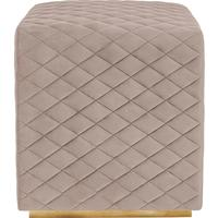 Giles Cube Stool Fabric Black or Beige Velvet
