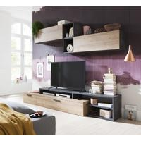 Varese Long TV Stand - Light Oak and Anthracite Grey Finish