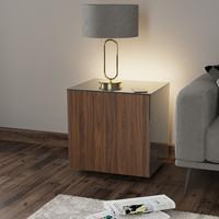 High Gloss Grey and Walnut Lamp Table with Wireless Phone Charger