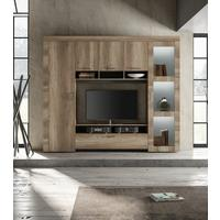 Livorno Storage and TV Wall Unit -Including Spotlights San Remo Oak Finish