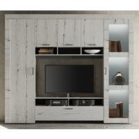 Livorno Storage and TV Wall Unit - Including Spotlights White Oak Finish