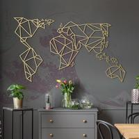 Geometric World Map - Gold