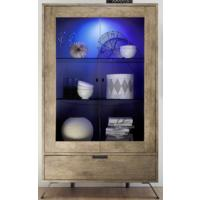 Palma Double Vitrine with Internal LED Spotlight in San Remo Oak by Andrew Piggott Contemporary Furniture
