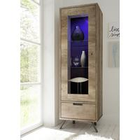 Palma Single Vitrine with Internal LED Spotlight - San Remo Oak finish by Andrew Piggott Contemporary Furniture