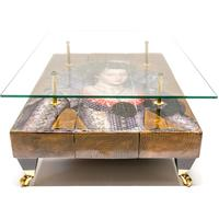 Queen Boho Coffee Table with Glass Top