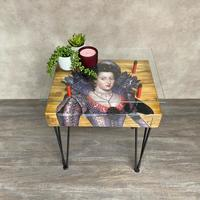 Queen Of Bohemia Side Table with Glass Top by Cappa E Spada