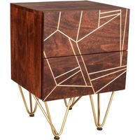 Dallas Dark Mango Side Table with Metal Inlay
