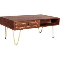 Dark Gold Rectangular Coffee Table with Drawer by Indian Hub