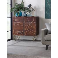 Dallas Dark Mango 2 Door 2 Drawer Small Sideboard Metal Inlay