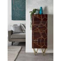 Dallas Dark Mango Tall Chest of 5 Drawers Metal Inlay