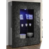 Brescia Display Vitrine with LED Spotlight - Gloss Anthracite with Grey Stencil