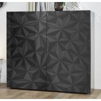 Brescia High Sideboard - Gloss Anthracite with Grey Stencil Print