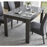 Brescia Dining  Extendable  Table  -  Gloss Anthracite with Grey Stencil by Andrew Piggott Contemporary Furniture